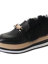 Femme Chaussures Polyuréthane Hiver Confort Mocassins et Chaussons+D6148 Bout rond Pour Décontracté Noir Marron