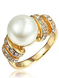 cheap -Women's Band Ring Cubic Zirconia One-piece Suit Classic Vintage Elegant Fashion European Imitation Pearl Zircon Gold Plated Circle Tube