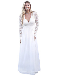 cheap -Women's Party Lace Dress,Solid V Neck Maxi Long Sleeve Polyester Spandex Fall High Rise Stretchy Opaque