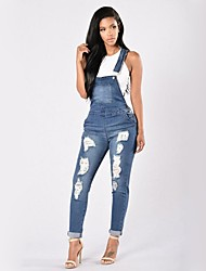cheap -Women's Skinny Overalls Jeans Pants - Solid