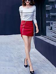 Недорогие -Для женщин Секси Для улицы Офис Асимметричный вырез Подол,Юбки Сексуальные платья Однотонный Сексуальные платья Мода Осень Зима