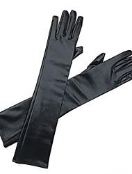 Недорогие -Искусственная кожа До плеча Перчатка Свадебные перчатки / Вечерние перчатки С Стразы