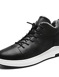Herrer Sko Syntetisk Mikrofiber PU Vinter Lysende såler Sneakers Til Afslappet Sort