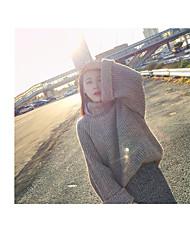 Standard Pullover Da donna-Da tutti i giorni Semplice Tinta unita Dolcevita Manica lunga Cotone Autunno Spesso Media elasticità