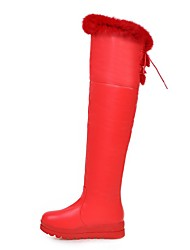 Women's Shoes Leatherette Fall Winter Fashion Boots Boots Round Toe Thigh-high Boots For Casual Dress Red Black White
