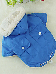 Cat Dog Coat Hoodie Dog Clothes Cotton Spring/Fall Winter Casual/Daily Keep Warm Warm Ups Chrismas Halloween Solid Green Blue Pink For