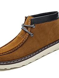 cheap -Men's Shoes Flocking Nubuck leather PU Suede Spring Fall Comfort Boots For Casual Brown Yellow Black