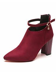 baratos -Mulheres Sapatos Courino Outono / Inverno Botas da Moda Botas Salto Robusto Dedo Apontado Botas Curtas / Ankle Pérolas para Festas & Noite