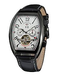 preiswerte -FORSINING Herrn Damen Automatikaufzug Armbanduhr Kalender PU Band Freizeit Modisch Cool Schwarz