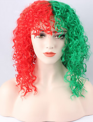 cheap -Synthetic Wig Kinky Curly Green Women's Capless Halloween Wig Cosplay Wig Medium Synthetic Hair