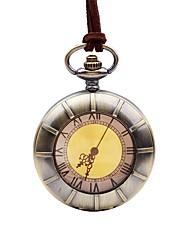 baratos -Homens Relógio de Bolso Chinês Quartzo Mostrador Grande Lega Banda Vintage Casual Marrom