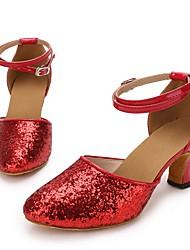 """economico -Da donna Danza moderna Paillette Similpelle Sneaker Per interni Paillettes Tacco su misura Rosso 2 """"- 2 3/4"""" Personalizzabile"""