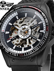 abordables -WINNER Homme Montre Bracelet Gravure ajourée Silikon Bande Rétro / Décontracté / Mode Noir / Remontage automatique