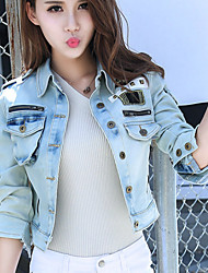 cheap -Women's Going out Basic Cotton Denim Jacket - Solid Colored Shirt Collar