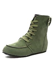 Недорогие -Для женщин Обувь Полиуретан Зима Удобная обувь Ботинки Плоские Круглый носок Закрытый мыс Сапоги до середины икры для Повседневные Черный