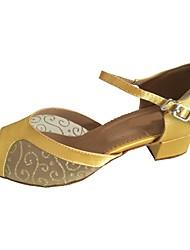 preiswerte -Damen Schuhe für den lateinamerikanischen Tanz Satin Sandalen Maßgefertigter Absatz Maßfertigung Tanzschuhe Gold / Innen