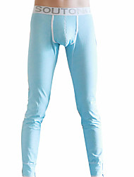 billige Undertøy og sokker til herrer-Herre Mikroelastisk Langunderbukser Medium - Ensfarget Bomull Polyester 1pc Blå Grønn Rosa