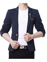 cheap -Men's Daily Casual Winter Blazer,Solid Notch Lapel Long Sleeve Regular Polyester