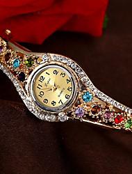 Недорогие -Жен. Эксклюзивные часы Модные часы Часы-браслет Кварцевый Золотистый Защита от влаги Секундомер Повседневные часы Аналоговый Кольцеобразный Цветной Рождество - Лиловый Пурпурный Синий и фиолетовый