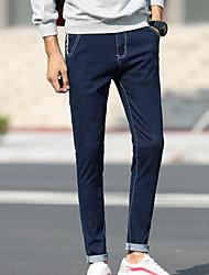 Masculino Simples Cintura Média Micro-Elástica Jeans Chinos Calças,Sólido Inverno Outono