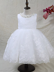 cheap -A-Line Knee Length Flower Girl Dress - Lace Satin Tulle Sleeveless Jewel Neck with Laces Beading Bow(s) by LAN TING BRIDE®
