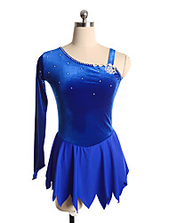 cheap -Figure Skating Dress Women's Girls' Ice Skating Dress Pink Blue Black Spandex Inelastic Performance Practise Skating Wear Solid Long