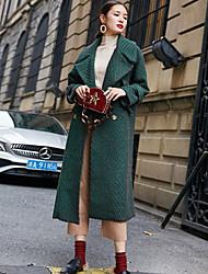 Недорогие -Для женщин Спорт Зима Осень Пальто Рубашечный воротник,Винтаж Однотонный Длинная Длинные рукава,Шерсть Полиэстер