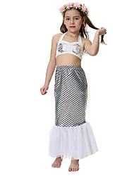 baratos -The Little Mermaid Bikini Roupa de Banho Crianças Natal Baile de Máscaras Festival / Celebração Trajes da Noite das Bruxas Cinzento