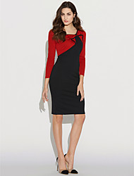 Women's Daily Work Vintage Street chic Chinoiserie Sheath Dress,Color Block Round Neck Knee-length Long Sleeves Cotton Polyester Winter