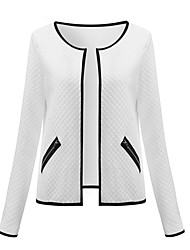 cheap -Women's Holiday Casual/Daily Simple Street chic Spring Fall Jacket,Solid Stand Long Sleeve Short Polyester