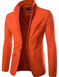 Masculino Terno Trabalho Simples Outono,Sólido Padrão Poliéster Colarinho de Camisa Manga Comprida