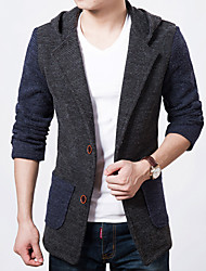 cheap -Men's Others Casual/Daily Simple Fall Regular Jacket, Striped Color Block Hooded Polyester