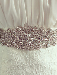 cheap -Silk Like Satin Wedding Party / Evening Sash With Rhinestone Crystal Women's Sashes