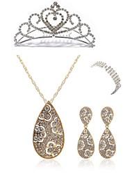 preiswerte -Damen Strass Diamantimitate Schmuck-Set Körperschmuck 1 Halskette 1 Ring Ohrringe - Modisch Europäisch Tropfen Manschetten-Armbänder