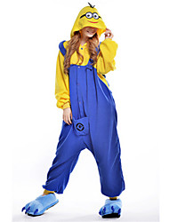 cheap -Kigurumi Pajamas Anime Mini Yellow Men Onesie Pajamas Costume Polar Fleece Blue Cosplay For Adults' Animal Sleepwear Cartoon Halloween