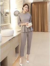 economico -Set Pantalone Completi abbigliamento Da donna Quotidiano Casual Inverno,Tinta unita Rotonda Seta Maniche lunghe