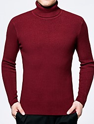 abordables -Homme Couleur Pleine Sortie Pullover, Manches Longues Col Roulé Polyester Hiver