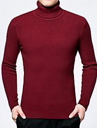 economico -Per uomo Classico Manica lunga Pullover - Classico, Tinta unita A collo alto