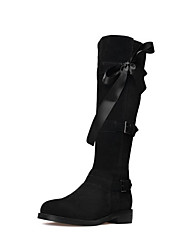 cheap -Women's Shoes Cowhide Fall Fashion Boots Boots Low Heel Round Toe Knee High Boots Bowknot for Casual Black