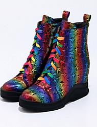 preiswerte -Damen Schuhe Glanz PU Frühling Herbst Modische Stiefel Komfort Neuheit Stiefel Keilabsatz Spitze Zehe Booties / Stiefeletten Band-Bindung