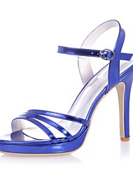 cheap -Women's Shoes Patent Leather Spring Summer Basic Pump Sandals Stiletto Heel Open Toe Buckle for Wedding Party & Evening Gold Silver Blue