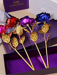 cheap -10 24K Mother's Day Gift Gold Dipped Long Stem Rose Flower for Wedding Gift Box