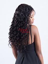 abordables -Cheveux Rémy 360 frontal Perruque Cheveux Péruviens Ondulation Lâche Avec Mèches Avant 180% Densité Non traité Long Femme Perruque