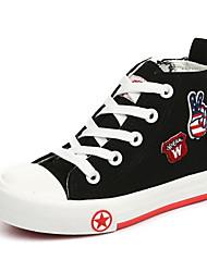 preiswerte -Jungen Schuhe Leinwand Frühling / Herbst Komfort Sneakers Walking Schnürsenkel für Schwarz / Rot / Blau