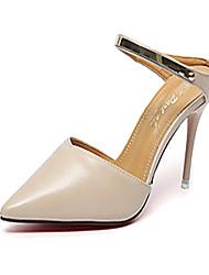 economico -Da donna Scarpe PU (Poliuretano) Primavera Autunno Comoda stivali slouch Tacchi Footing A stiletto Appuntite Fibbia Per Casual Bianco