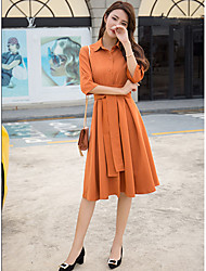 cheap -Women's Casual/Daily Street chic Sheath Dress,Solid Shirt Collar Knee-length 3/4 Sleeve Polyester Winter Fall Mid Rise Micro-elastic