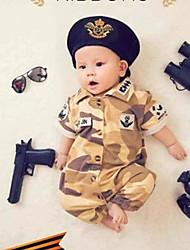 Baby Unisex Tøjsæt Daglig camouflage,Bomuld Bambus Fiber Alle årstider Langt Ærme Simple Kakifarvet