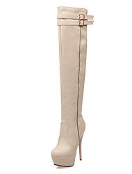 cheap -Women's Shoes Leatherette PU Winter Fall Fashion Boots Boots Stiletto Heel Round Toe Over The Knee Boots Buckle for Dress Party & Evening