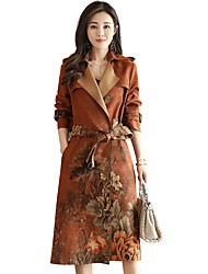 cheap -Women's Going out Vintage Winter Coat,Floral Print Peaked Lapel Long Sleeve Long Others