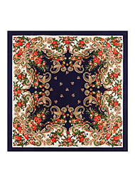 Women's Silk Square Painting Spring Fall Winter Summer Lavender Royal Blue Beige Red Black